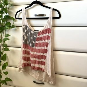 flowy woven american flag tank top